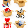 New house, heart, window, books and balls in box — Stock Photo