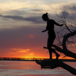 Silhouette of the girl — Stock Photo