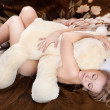 Naked beautiful young blonde sleeps — Stock Photo