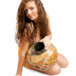 Priestess with vintage jug — Stock Photo