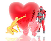 3d soldier and golden girl with a red 3d heart — Stock Photo