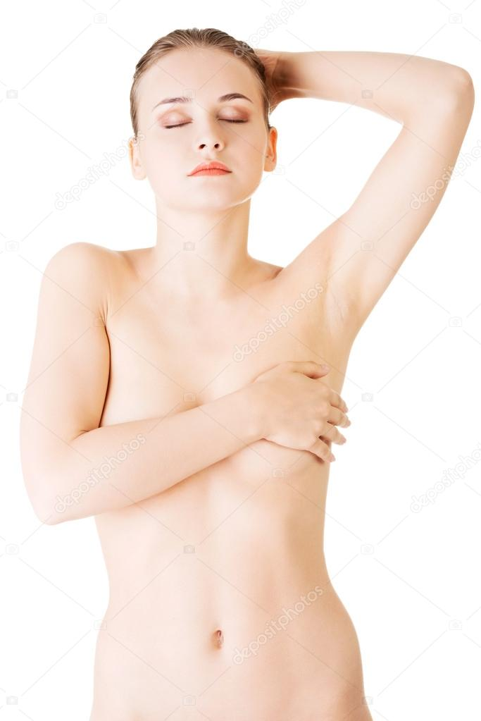 girl holding boobs naked