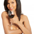Attractive naked woman with galss of wine. — Stock Photo