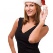 Smiling women in Santa's hat — Stock Photo