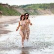 Naked women running — Stock Photo