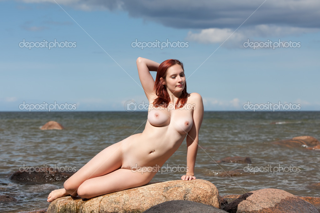 Nude Woman Sitting On Stone Stock Mykhaylo Palinchak