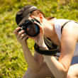Nature photographer takes pictures — Stock Photo #27474111