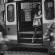 Nude woman in tram — Stock Photo