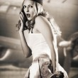 Portrait of pin up girl stewardess or air hostess — Stock Photo
