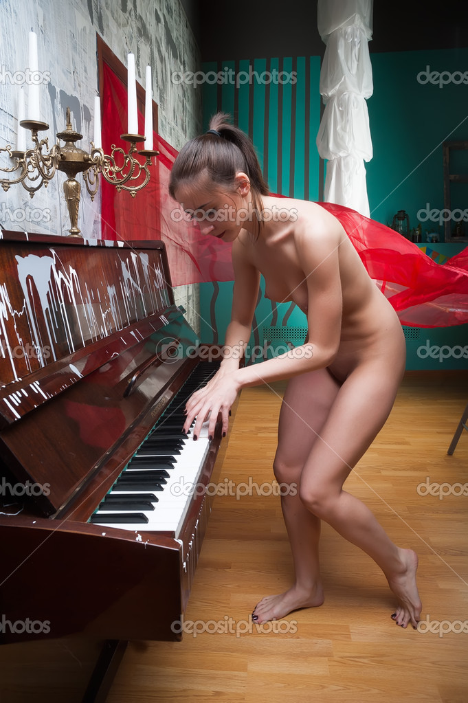 Nudist girl playing piano have hit