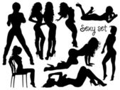 Sexy girls silhouettes set — Stock Vector