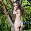 Nude girl stands near the apple tree. — Stock Photo