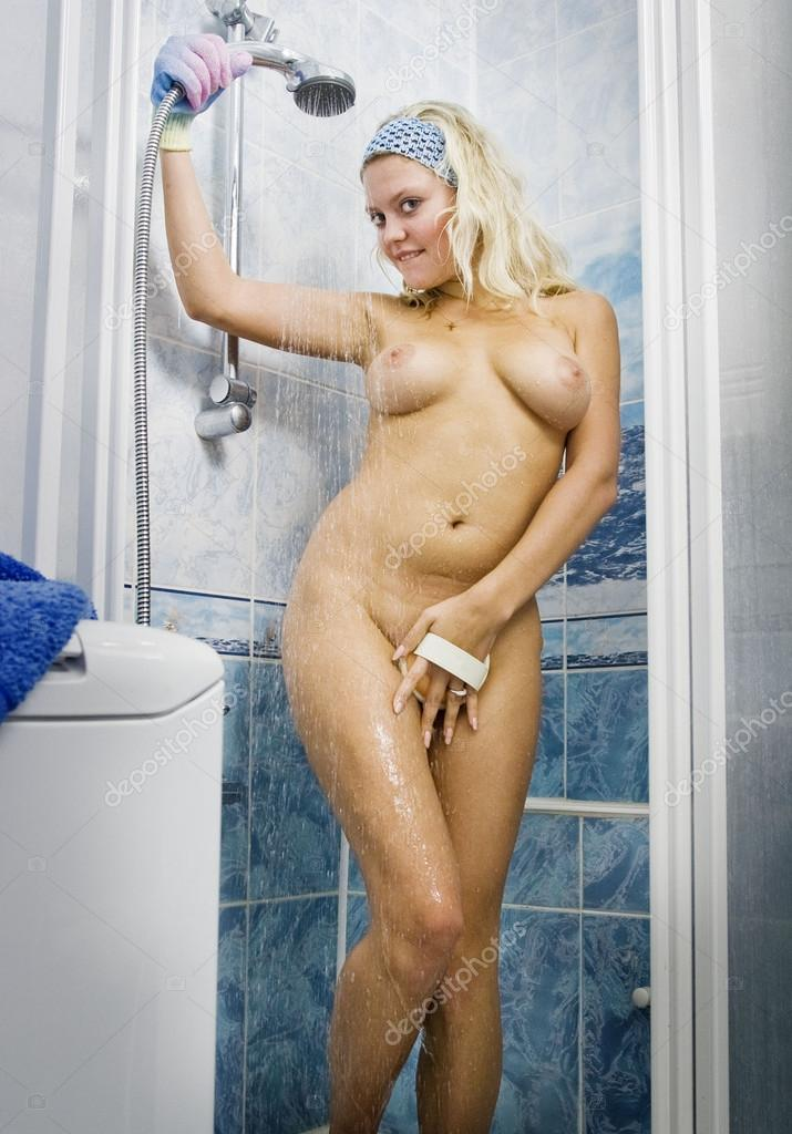 Deposits Young Nude Woman In The Shower