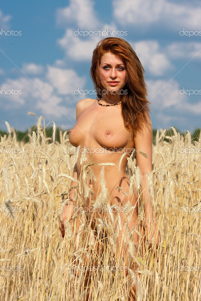 Young Nude Woman At The Rye Field Naked Girl In Open Air