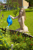 Naked red-haired young woman — Foto Stock