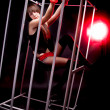 Stock Photo: Girl in handcuffs sitting in cage in red light