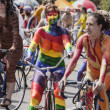 Stock Photo: Rainbow Cyclist In Solstice Parade