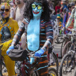 Naked Cyclist As Blue Satyr — Stock Photo