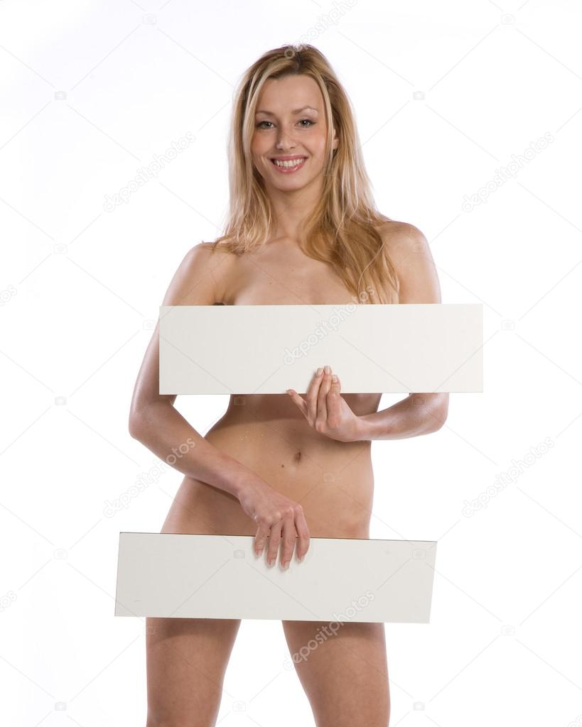 naked girl holding a sign