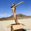 Nude woman jumping. — Stock Photo