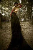 Mysterious woman in dark forest, fantasy concept, dark queen — Stock Photo
