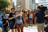 Nude models, artists take to New York City streets during first official Body Painting Event — Stock fotografie