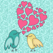 Stock Photo: Birds-in-love