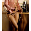Beauty sexy girl on the kitchen — Stock Photo