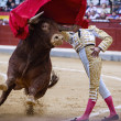 Spanish bullfighter bullfighting giving a spectacular chest pass — Stock Photo